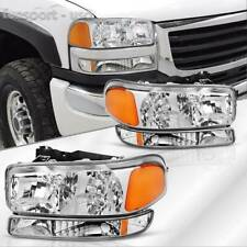 Headlamp For 1999-2007 Gmc Sierra 1500 00-06 Yukon Headlights+Bumper Lamps Pair