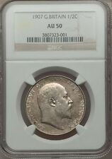 GREAT BRITAIN EDWARD VII 1907 HALF-CROWN ALMOST UNCIRCULATED CERTIFIED NGC AU-50