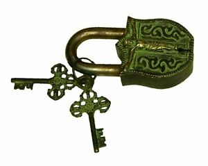 Jesus Christ Engraved Lock Antique Style Handmade Brass Padlock With Unique Keys