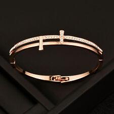 Fashion Cubic Zircon Cross Bangle Bracelet For Women 18K Rose Gold Plated Sl391