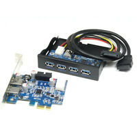 "PCI-e Express USB 3.0 Card Adapter +3.5"" 4-Port USB3.0 Expansion Bay Front Panel"