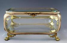 Large C1880 Victorian Beveled Glass & Brass Mounted Jewel Dresser Box Casket NR