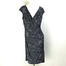 American Living Dress Size 6 Black White Blue Geometric Confetti Sheath Cocktail