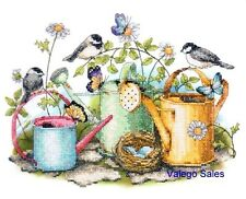 "Dimensions Stamped Cross Stitch kit 14"" x 11"" ~ WATERING CANS Sale #70-03243"