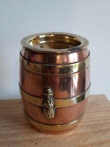 "Vintage Copper & Brass Barrel Spill Vase Folk Female Figure Fireplace Decor 3.5"""