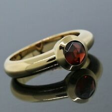 Tiffany & Co. France 18K Yellow Gold Bezel Set Garnet Solitaire Ring Size 6.5
