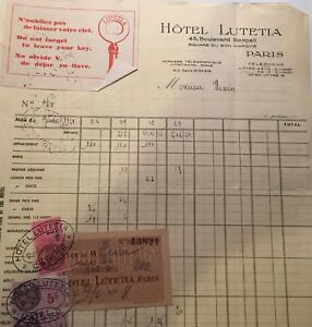 1938 trip to Paris, Belgium, Switzerland, UK, tickets, hotel Lutetia, photos