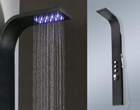 Schwarzes Aluminium Duschpaneel mit LED | Duschsäule | Duschset | Regendusche