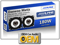 "Daewoo Matiz Front Dash speakers Alpine 10cm 4"" car speaker kit 180W Max"