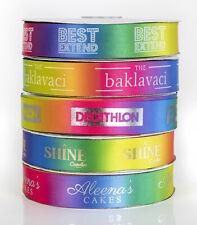 25mm PERSONALISED SATIN RAINBOW RIBBON - Logos Birthday Events Wedding Gift Xmas