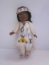 "VINTAGE 7"" TALL HARD PLASTIC CARLSON NATIVE AMERICAN INDIAN GIRL DOLL"