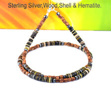 5WN-019 Custom Made Sterling Silver Wood, Shell & Hematite Choker Necklace.