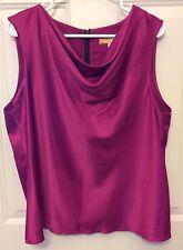 Ellen Tracy Women's Silky Poly Sleeveless Fuchsia Zip Back Holiday Shirt Size 16