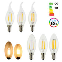 Dimmable E14 2W 4W 6W LED Candle Filament Light Bulbs Warm White 2700K Screw Cap
