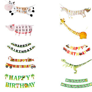 Cartoon Animal Happy Birthday Character Pull Flag Birthday Party Decoration 2021