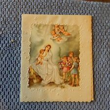 Vintage Christmas Card (c) USA ST.A.10 Embossed Madonna & Child, Angels