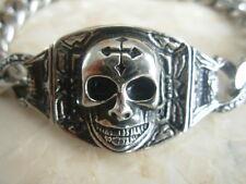 """9"""" Skull Bracciale in Acciaio Inox Cordolo LINK FUORILEGGE Croce Biker Gotico Steampunk"""