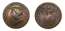 Great Britain 1714 Queen Anne 1702-14 Pattern Copper Farthing Very Rare VF  4996