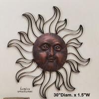 Sun Face Wall Decor Metal Rustic Bronze Garden Sculpture Yard Art Indoor Outdoor