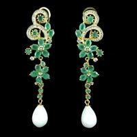 Unheated Oval Emerald 4x3mm Mop Cz 925 Sterling Silver Flower Earrings