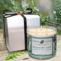Handmade All Natural Rosemary Sage 3 Wick Soy Candle Amazing Scent Free Shipping