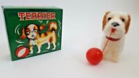 Vintage Mechanical Wind Up Toy- Mechanical Terrier with Red Ball