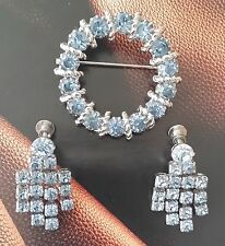 Vintage Rare Brooch Pin & Earrings with Baby Blue Stones on Silver mounting
