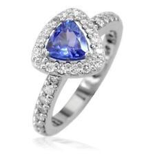 Trillion Tanzanite Diamond Halo Ring In14K White Gold