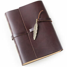 Ancicraft Leather Journal Diary with Feather A5 Lined Craft Paper Dark Coffee