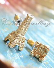 Unique Gold 3D Eiffel Tower Earring Studs Kids Love It