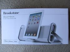 Brand New Brookstone Boombox for iPad, iPod, and iPhone with Built-in FM Silver