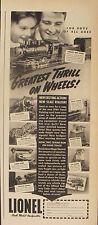 1940 Lionel Electric Trains Model Railroad Vintage Kids~Boys Toy Promo Print Ad