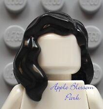 NEW Lego Girl Minifig Long BLACK HAIR - Female Pirate Wavy Minifigure Head Gear