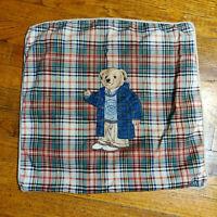 VTG 90s Ralph Lauren Polo Bear Sport Plaid Tan Throw Pillow Cover 18x18 Zipper