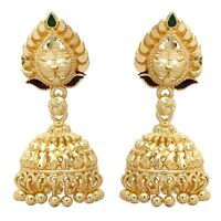 Indian Ethnic Gold Plated Earrings Bridal Jhumka Jhumki Women Fashion Jewelry