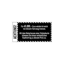 Auto Anti-Visitenkarten-Aufkleber Weiß Sticker Fahrzeug Digitaldruck Decal