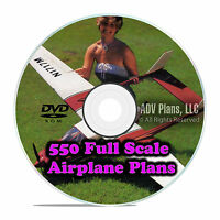 550 Full Scale RC Model Airplane Plans Templates Scratch Build Giant DVD F58