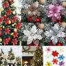 10pcs Christmas Poinsettia Glitter Flower Tree Hanging Xmas Party Decoration Hot