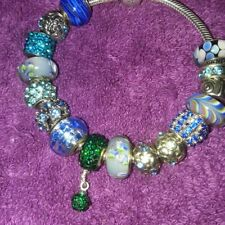 Authentic Pandora Lobster Bracelet w/Euro Charms & QVC Murano PANDOR BEADs W/BOX