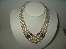Vintage 3 Strand Pink & Wedding Cake Colored Beads & Pearls Necklace - Japan