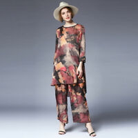 Womens Plus size Casual suits loose silk print Elegant two piece tops and pants