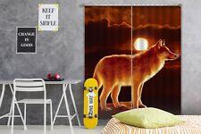 3D Sunset Wolf A77 Blockout Photo Curtain Fabric Window Vincent Zoe