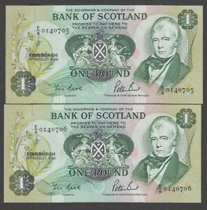 2x Bank Of Scotland 1988 One Pound Note £1 UNC Consecutive Numbers    / nox