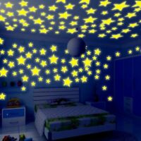 200pcs Glow In The Dark 3D Stars Moon Stickers Bedroom Home Room Wall Decor DIY