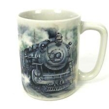 Otagiri Coffee Mug Train Railroad Steam Engine Locomotive Watercolor Japan
