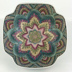 "Andrea By Sadek 10"" Decorative Bowl Floral Flower Print Mandala"