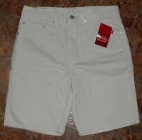 Mens LEVIS 505 SHORTS Regular Fit 33 White Khaki 100% Cotton (32x9) Red Tab NEW