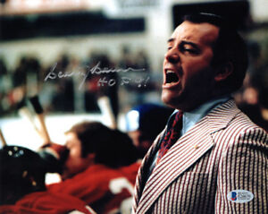 SCOTTY BOWMAN SIGNED 8x10 PHOTO + HOF 91 CANADIENS HOCKEY LEGEND BECKETT BAS