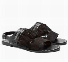 4568f91e75 NUOVO Prossimo PIUMA Sandali in pelle nera cristalli da donna Taglia 6 RRP  £ 45