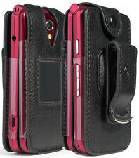 Black Vegan Leather Case with Belt Clip for GreatCall Jitterbug Flip Phone